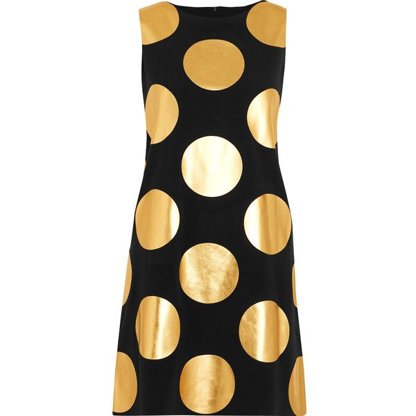 Boutique Moschino Metallic polka-dot jersey mini dress (€155) ❤ liked on Polyvore featuring dresses, black, slim fit dress, slimming dresses, jersey dress, polka dot jersey and polka dot mini dress