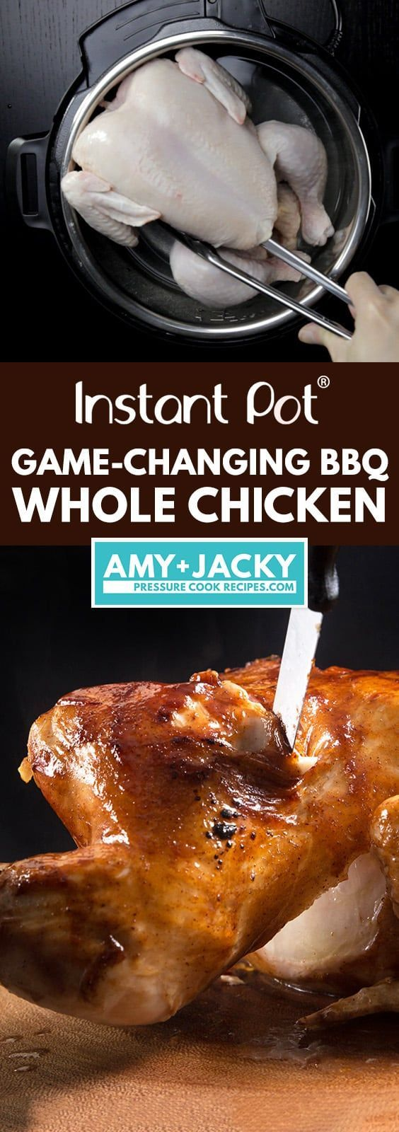 Make this 4-ingredient Game-Changing Instant Pot BBQ Whole Chicken Recipe (Pressure Cooker Whole Chicken) in 3 Easy Steps! Tender