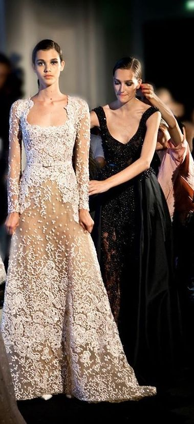 Backstage Elie Saab Couture F/W 2014-2015. I love his dresses!! Not too many that he creates are anywhere near ugly.