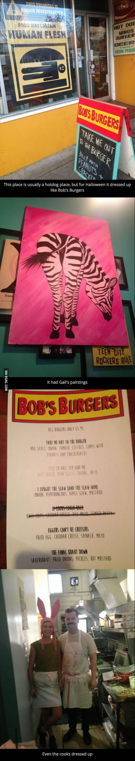 This hotdog place dressed up like Bob's Burgers for Halloween