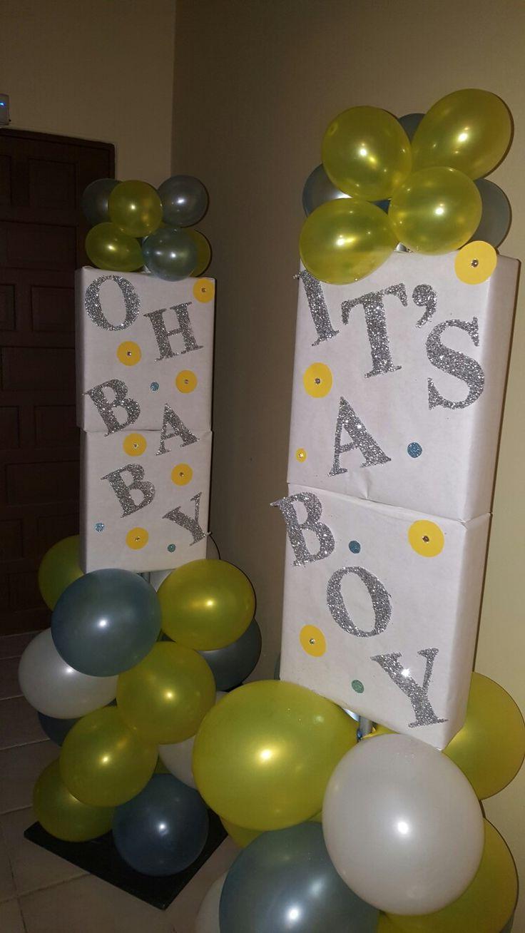 Diy balloon columns - Baby Shower Oh Baby It S A Boy Semi Balloon Columns Yellow