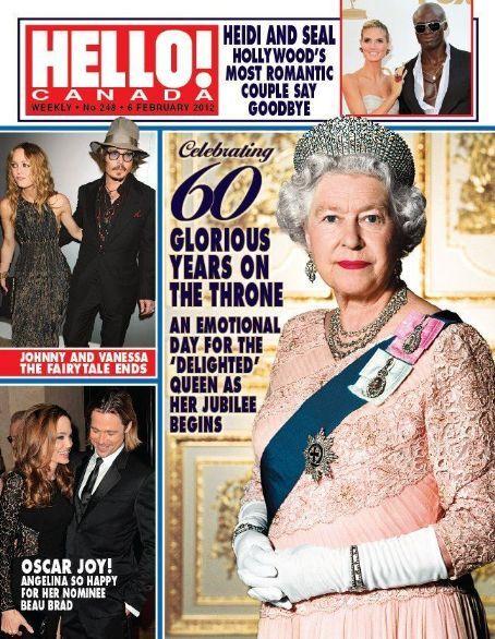 Queen Elizabeth II, Angelina Jolie, Brad Pitt, Johnny Depp, Vanessa Paradis, Heidi Klum, Seal - Hello! Magazine Cover [Canada] (6 February 2012)