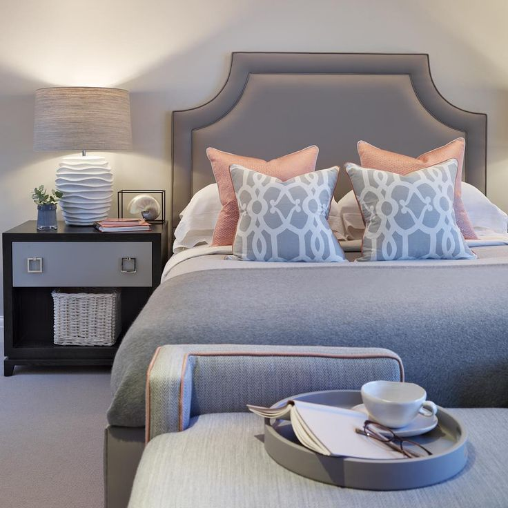 Grey And Coral Are The Perfect Combo #grey #coral #bedroom #interiors #
