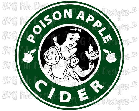 Snow White Poison Apple Cider Disney Princess Starbucks Coffee Logo Cutting File Clipart in Svg, Eps, Dxf, and Jpeg for Cricut & Silhouette