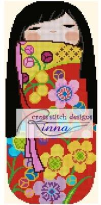 Kokeshi Girly Doll - EMI Cross Stitch Pattern/ Design