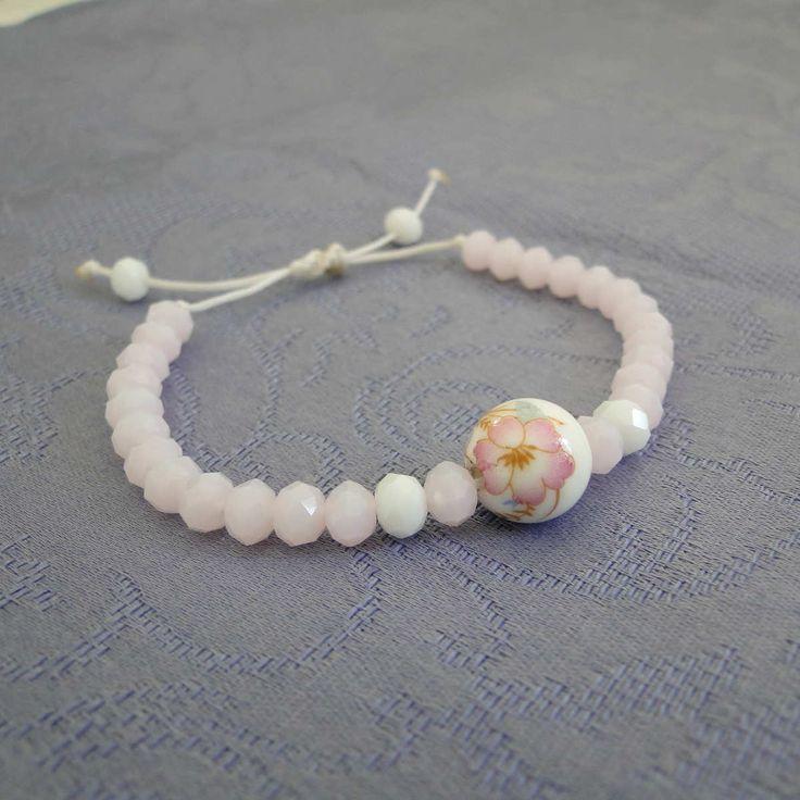 'Ασπρη Κηροκλωστή - Κεραμική πέτρα- Κρυσταλλάκια σε ροζ και λευκό χρώμα  Ρυθμιζόμενο μήκος