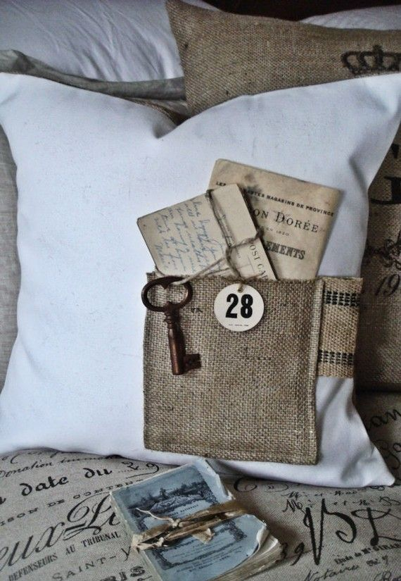 Whimsical Burlap Pocket Pillow Cover. I want to make something similar for each of my kids' beds. I can leave them little love notes...