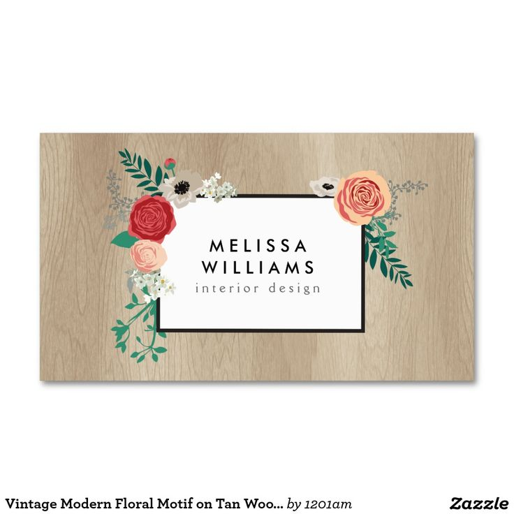 15 best business cards images on pinterest business cards carte vintage modern floral motif on tan woodgrain business card colourmoves Gallery