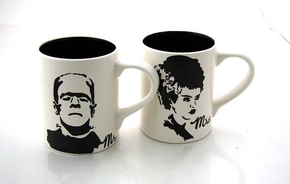 Mr and Mrs Mug Set Frankenstein and Bride  Black/White Funny Wedding Gift on Etsy, $35.00