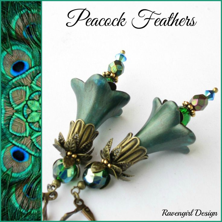 PEACOCK FEATHERS Blue Green Flower Earrings, Peacock Wedding, Gifts Under 40, Mothers Day Gift, Unique, Vintage Victorian Style, Ravengirl