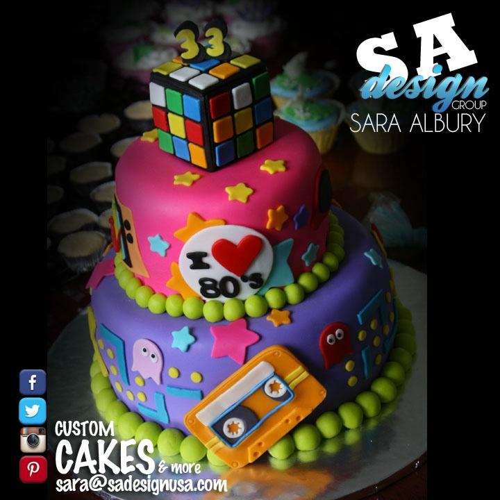 80s Theme Cake Design