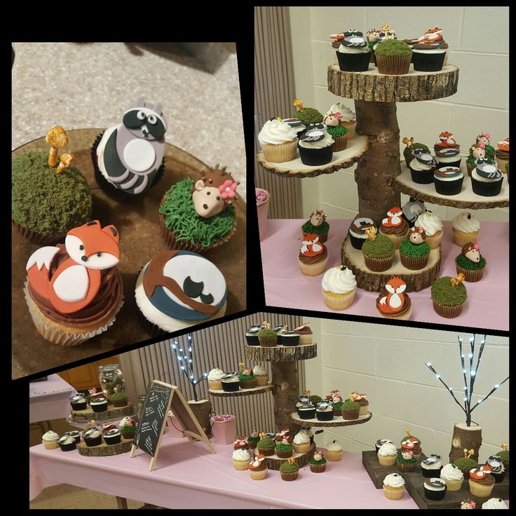 Woodland Creatures Baby Shower cupcakes and tiered wood cupcake display #woodland #DIYcupcakestand #fox #racoon #mushrooms #owlbaby #hedgehog #toadstool #mossycupcake
