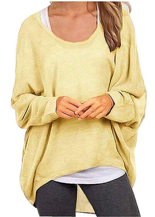7d54d0df4d7 UGET Women's Sweater Casual Oversized Baggy Off-Shoulder Shirts ...