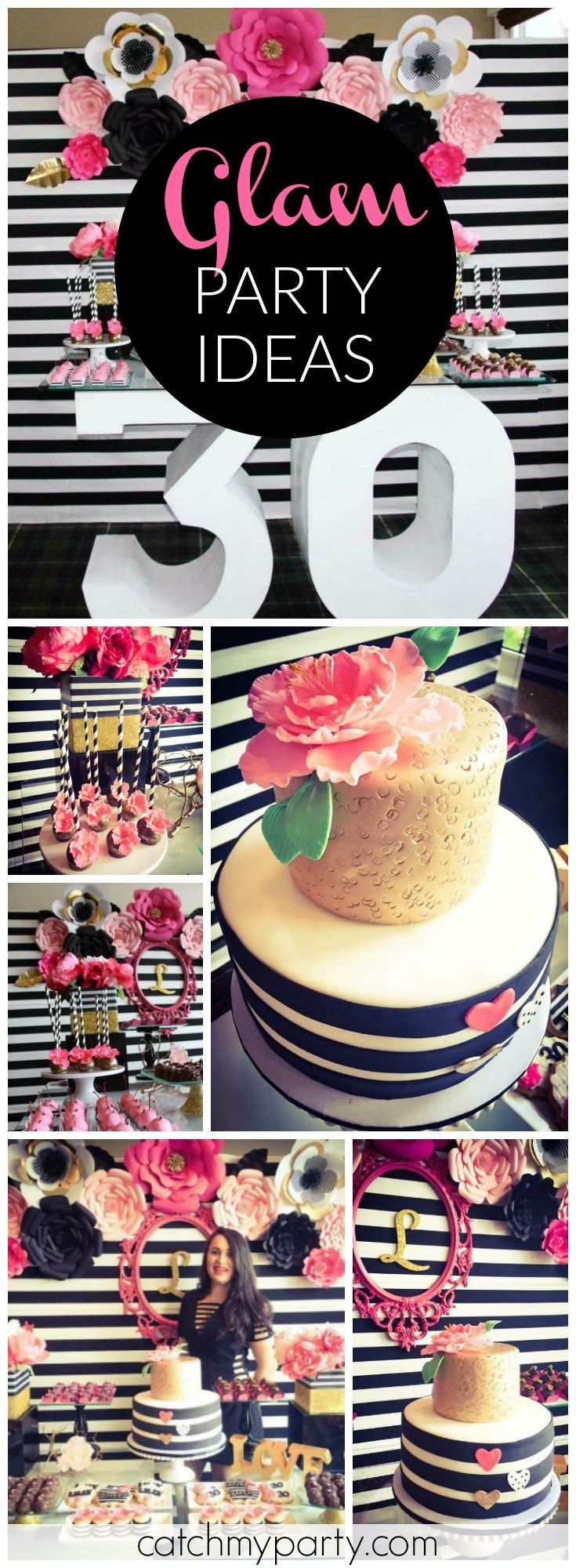 Wow! Love this Kate Spade inspired glam 30th birthday in black, white and pink! See more party ideas at Catchmyparty.com!