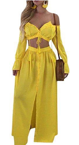 ede2a0de7e3 Smeiling Womens Long Sleeve Crop Top and High Waist Long Skirt 2 Piece Set  Dress