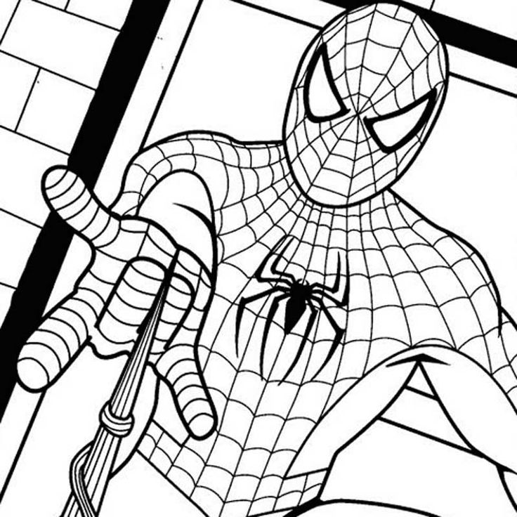 Spiderman Showing Strength Spiderman Showing His Strength Coloring Pages