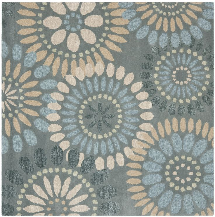 safavieh jardin collection handmade wool square area rug by grey and blue the safavieh jardin collection contains whimsical rugs