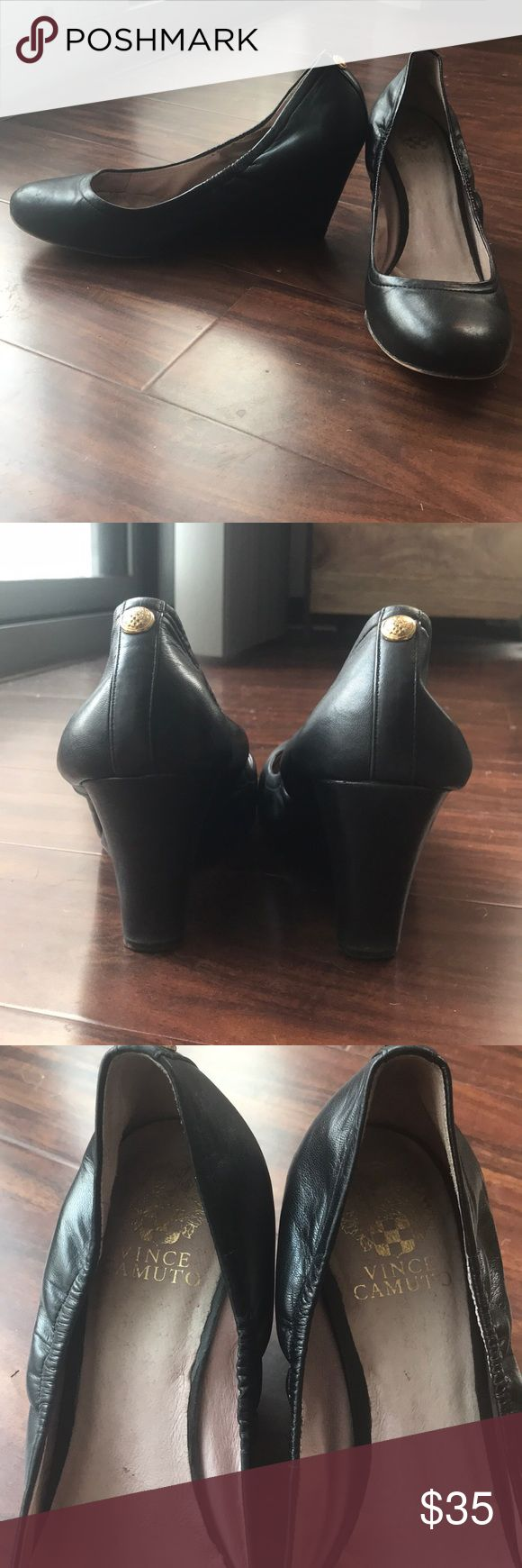 Vince Camino Black Wedge Pump Gorgeous genuine leather black wedge pumps from Vince Camuto!! Super comfy and perfect for work or play! Vince Camuto Shoes Heels