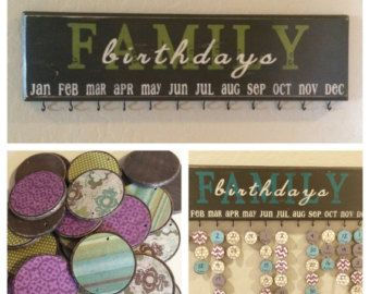 Wood discs . Family Birthday Board . von WonderfullyMadeDecor
