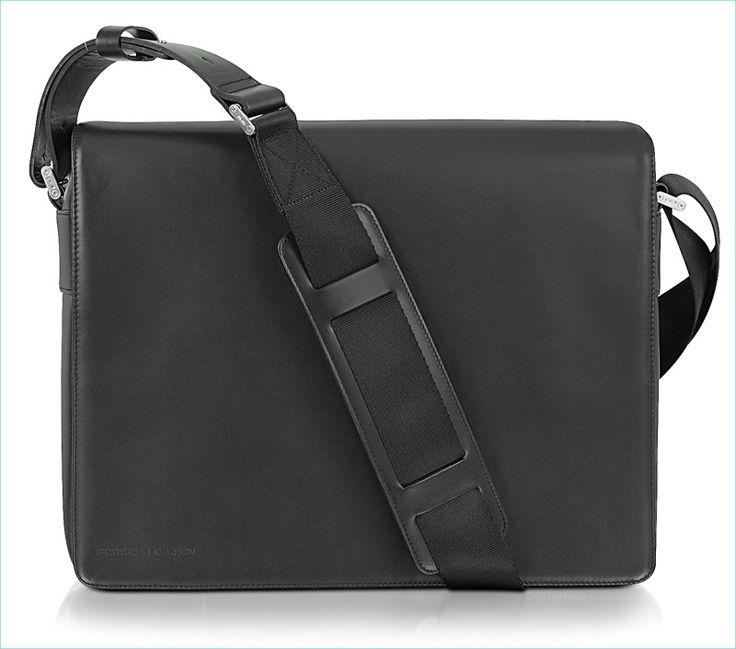 Porsche Design Black Leather Messenger Bag