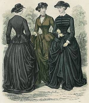 A common feature of 1850's and very early 1860's sidesaddle riding habits is the jacket style bodice with a long basque and peplum. As shown in this 1855 French fashion plate from Le Follet magazine, the bodice of a habit could either be jacket style and worn over a blouse or a regular fitted high necked bodice with a long basque and peplum.