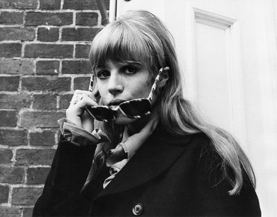 Marianne Faithfull in Chichester during the legal trial following the infamous drug bust at Keith Richards' Redlands home. Photo by Roy Cummings, June 1967.