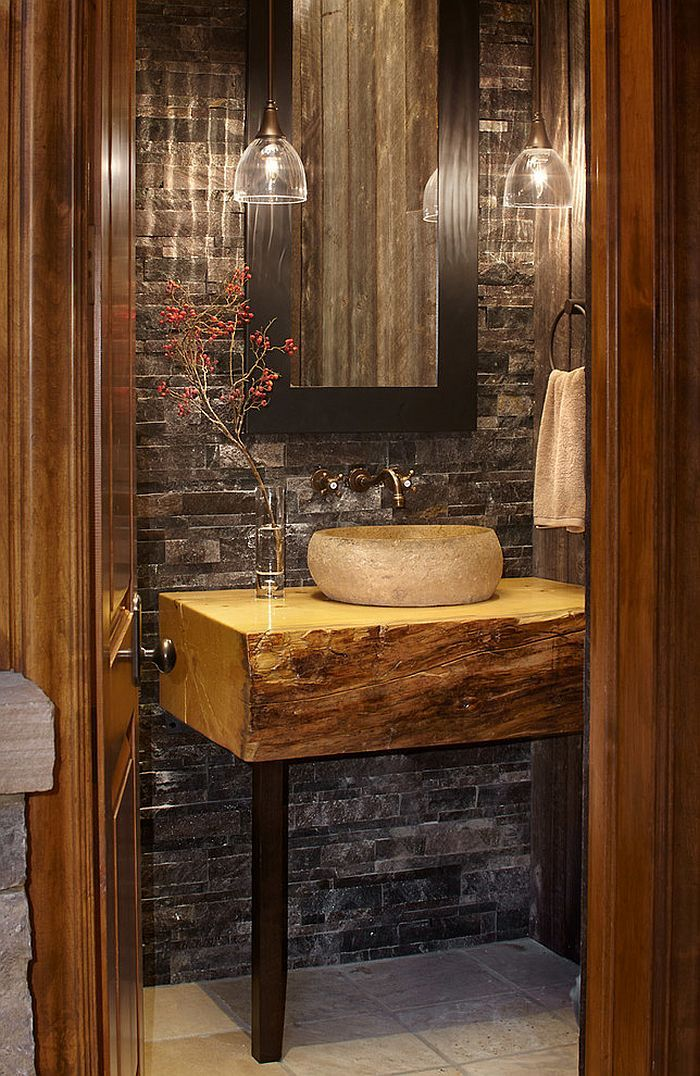 Small Custom Vanity For The Elegant Rustic Bathroom [Design: Greenauer  Design Group]   Part 82