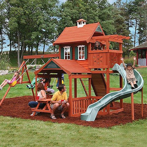 I like the upper veranda with pergola to provide some shade and make it feel cozy for the kids.