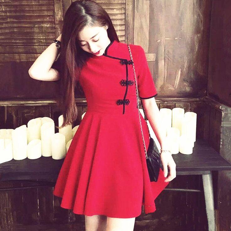 الملابس الرخيصة الصين الجديدة امرأة فساتين 2016 الصيف خمر تحسين شيونغسام تشيباو الصينية تشيباو فساتين قصيرة