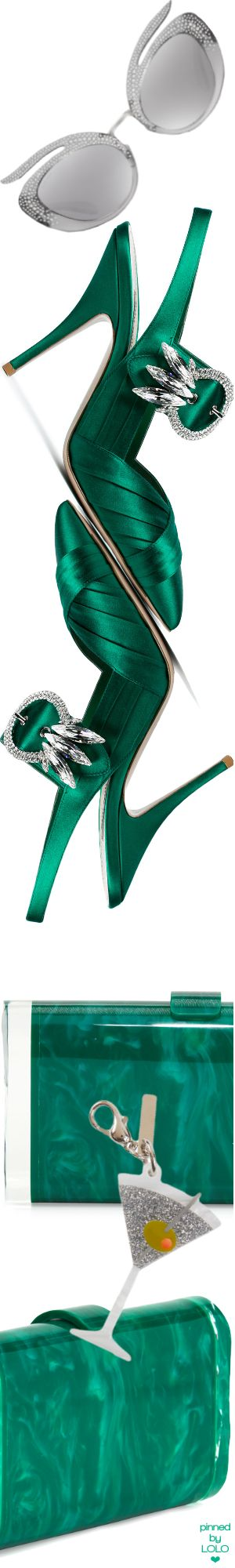 Miu Miu Green satin Crystal 105 Slingbacks | Edie Parker Clutch and bag Accessory
