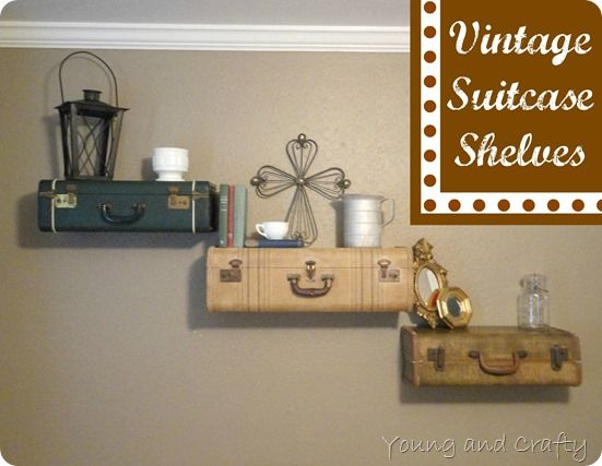 Vintage Suitcase Shelves - not sure if I could actually cut a vintage suitcase in half, but these are adorable!