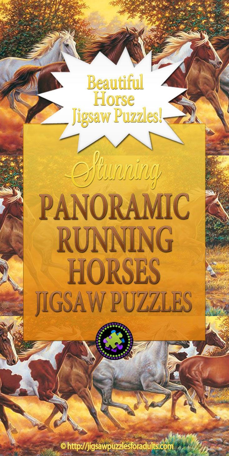 Panoramic Running Horses Jigsaw Puzzle is a fantastic and challenging true work of art that captures the raw and wild beauty of 7 horses running through a wide open field at dusk.This jigsaw Puzzle is the perfect gift for any horse lover.