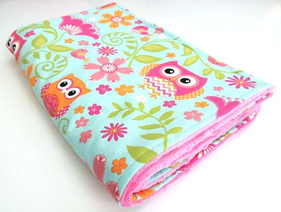 Pink Owl Minky Blanket  MADE TO ORDER  by charlottechicstore, $45.00