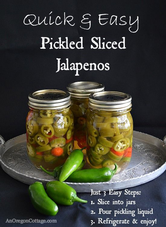 Quick and Easy Pickled Jalapenos ::  the perfect way to enjoy spicy jalapenos all year on burgers, pizza's and more! Get the recipe here: http://www.anoregoncottage.com/quick-easy-sliced-pickled-jalapenos/  #preserving