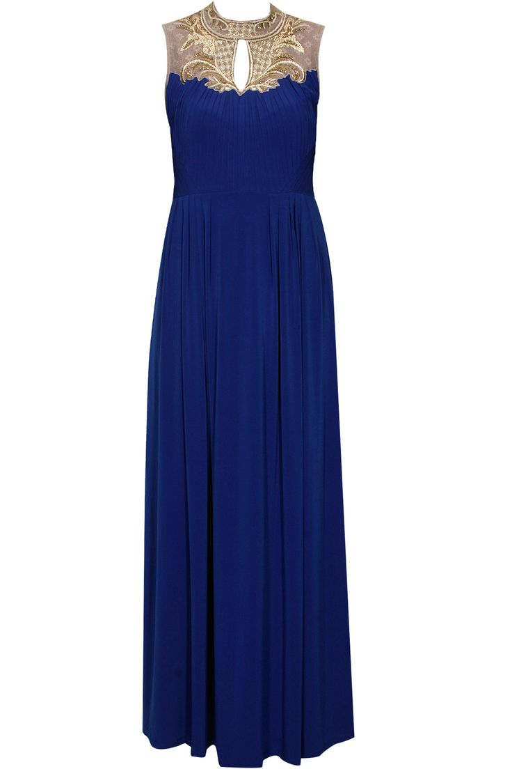 Blue jewelled neckline pleated jersey maxi available only at Pernia's Pop-Up Shop.