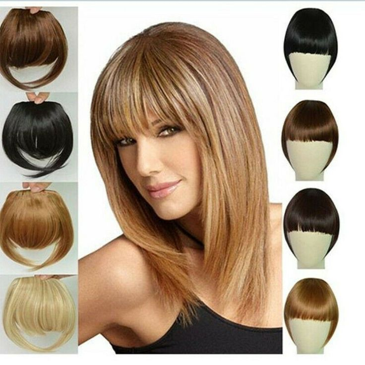 Real Thick Straight Bang Clip in on Fringe Hair Extensions as Human Hairpiece HT #Ad , #sponsored, #Bang#Clip#Straight