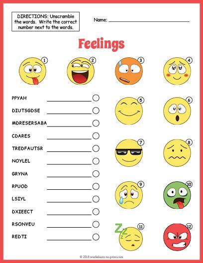 Feelings Vocabulary Worksheet