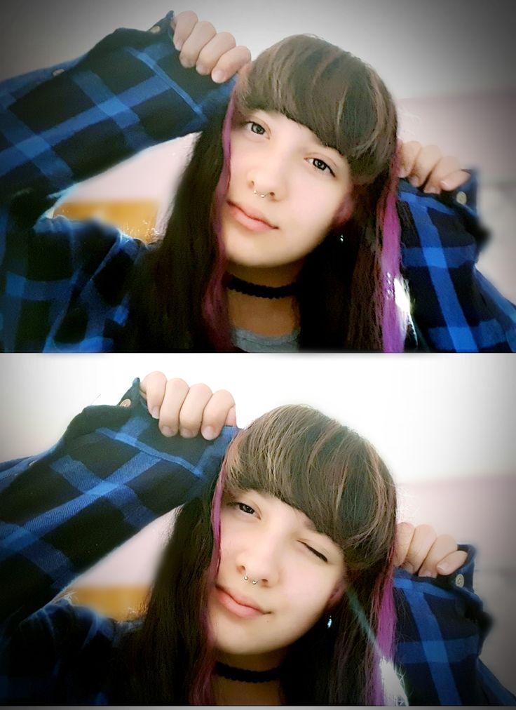 Cutie Style girl Emo Grunge Piercing Purple and black hair