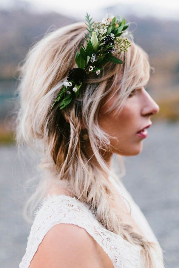 Gorgeous partial floral crown with greenery + fishtail braid   Kristian Lynae Irey