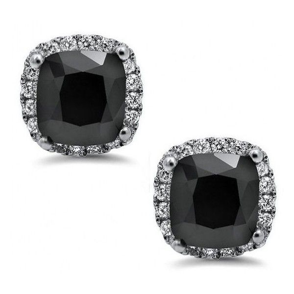3.0ct Black Cushion Cut Diamond Halo Stud Earrings 18k White Gold /... (£825) ❤ liked on Polyvore featuring jewelry, earrings, accessories, orecchini, studs, 18k jewelry, 18k white gold jewelry, 18k earrings, black jewelry and jewel earrings