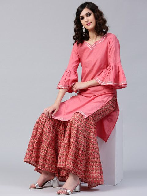15e174b0d Buy AKS Women Pink Self Design Kurta With Sharara - Kurta Sets for Women  2111467