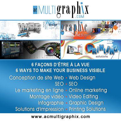 D'un design de carte de visite à un site complet d'e-commerce, notre équipe fera en sorte de vous fournir la bonne solution qui conviendra à votre budget et objectifs. www.acmultigraphix.com