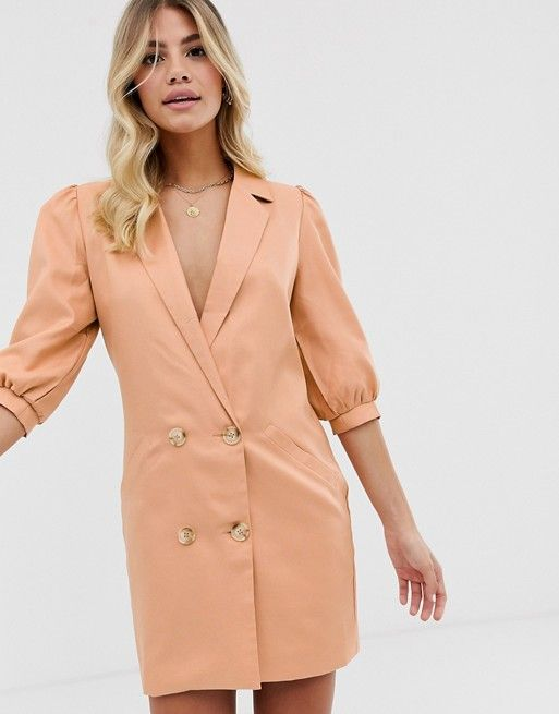 in the style puff sleeve tuxedo blazer dress in taupe asos