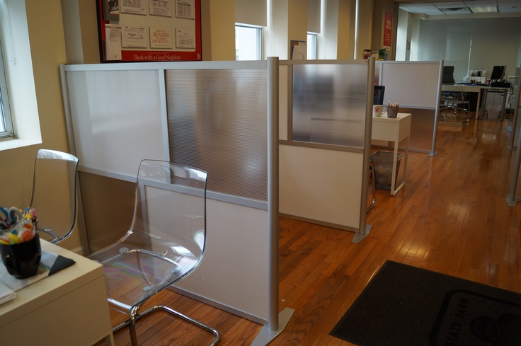 Modern elegant and translucent office dividers and partitions by iDivide.  Not your Grandma's office partitions!     A recent project for State Farm Insurance offices in New York City.  This design utilized a combination of white translucent twinwall and hammered frosted translucent twinwall panels for the office partitions. A very elegant a clean look was created using the model SW-6051, 60 inch wide by 51 inch high room divider wall sections to separate workstations.