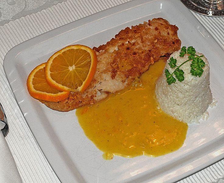 Lachsfilet mit Kokosreis an Orangensauce