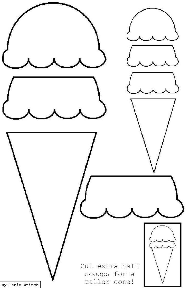 Ice Cream Cone Appliqué Template   Applique/SVG/Embroidery ...