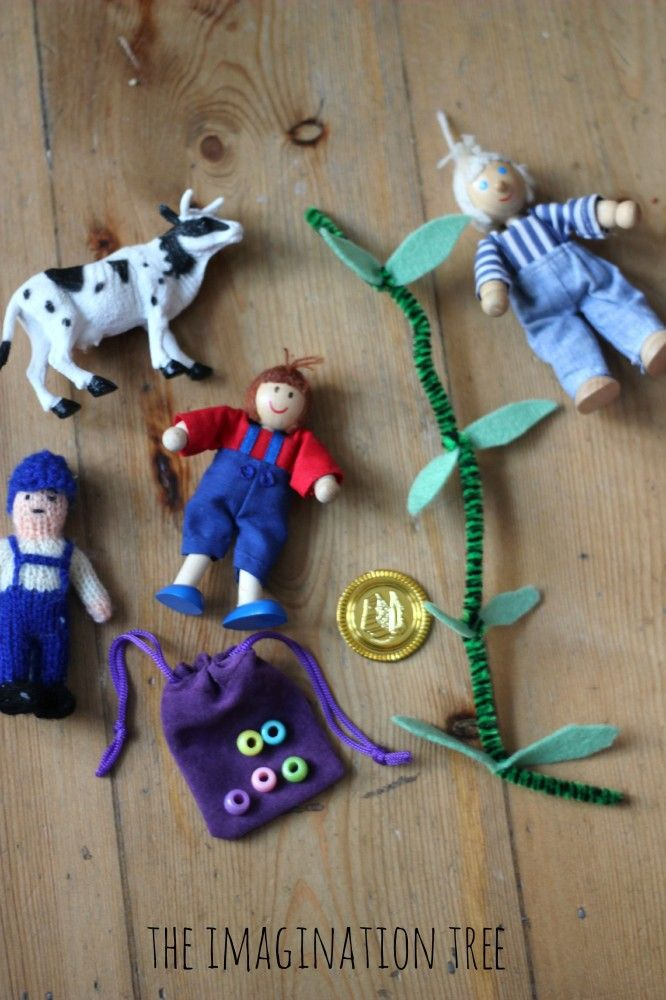 "Jack and the beanstalk storytelling props - The Imagination Tree made a really a simple beanstalk by twisting some small green felt leaves around a pipe cleaner & popped some coloured pony beads into a tiny velvet pouch to represent magic beans. Gorgeous! ("",)"