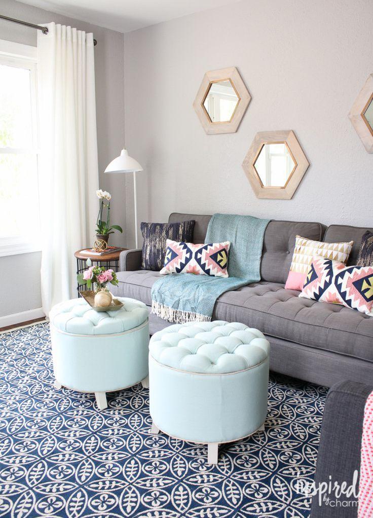 Best 20+ Round ottoman ideas on Pinterest Teal sofa, Large round - living room ottoman