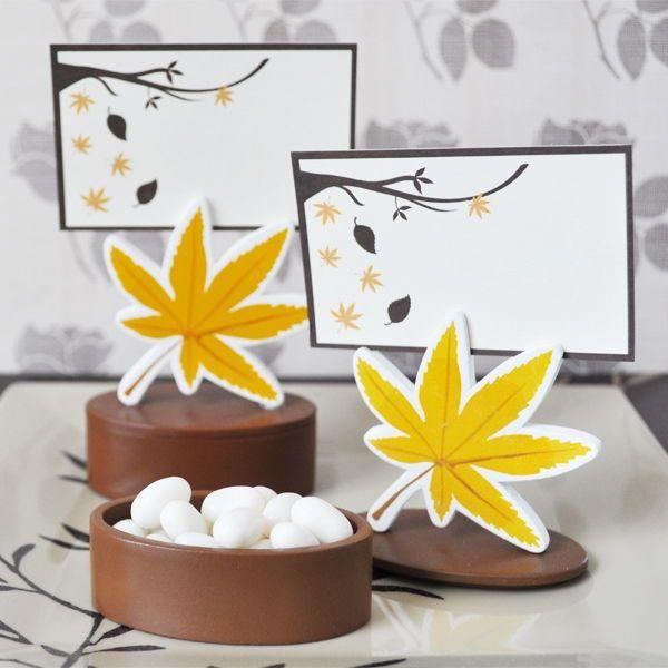 Leaf Place Card Favor Boxes With Designer Cards Set Of