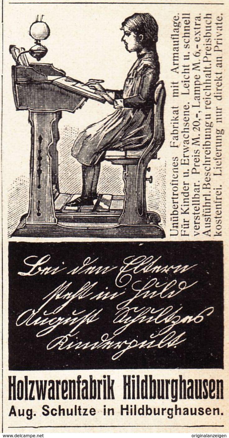 Werbung - Original-Werbung/ Anzeige 1908 - SCHREIBPULT / HOLZWARENFABRIK HILDBURGHAUSEN - ca. 45 x 80 mm